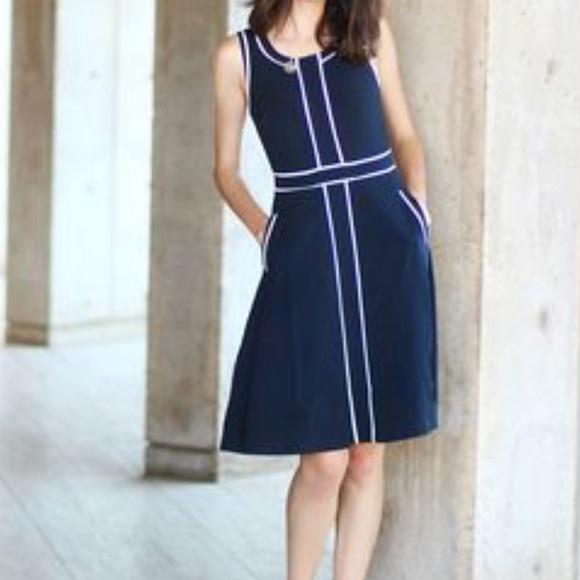1f7849e93a9 ModCloth Dark Blue Midi Dress With White Lining 2X.  M 5b6a5fccc2e88eb43b8efb0a